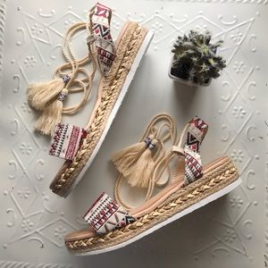 Tribal ankle wrap natural wedge platform sandal